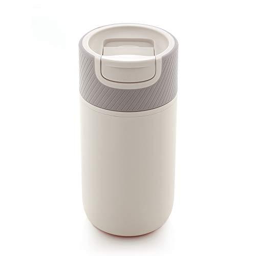 Water Logo KaffeeBecher to go, Coffee to go Becher. 350 ml, mit Magic Grip Pad! Doppelwand Isolierung, 100% auslaufsicher, Design Reisebecher, Travel Mug.(Grau weiß)