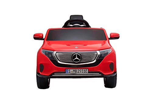 Coche eléctrico Mercedes-Benz EQC, Rojo, Licencia original, Asiento de cuero, Puertas abatibles,...