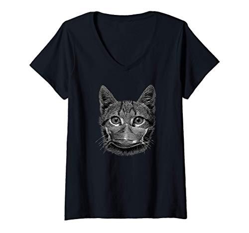 Mujer Lindo gatito con máscara facial con protector bucal Camiseta Cuello V