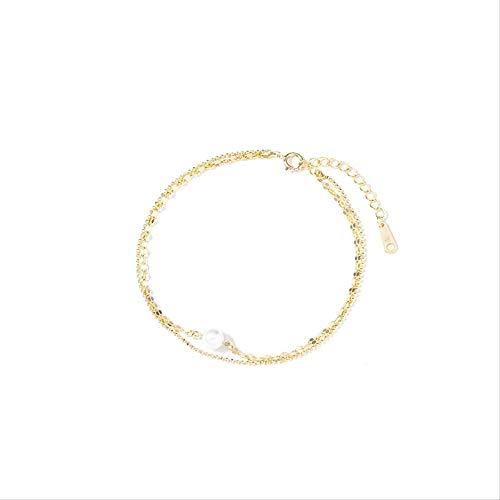 LFWQ Stijlvolle Romantische Parel Armband Dubbele Goud Zijde Ketting Temperament Honderd Armband Eenvoudige Sieraden Damesarmband