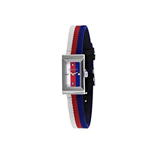 Gucci Women's G-Frame Multicolor Nylon Band Steel Case Sapphire Crystal Quartz Analog Watch YA147508