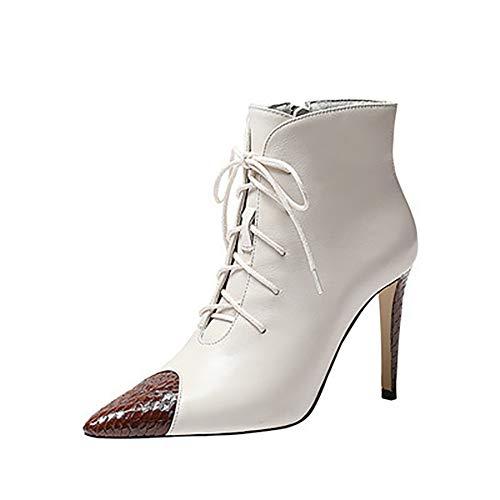 XINDONG Frauenstiefel Stiletto Stiefel Mode Martin Stiefel Spitze Spitze Spitze High Heels Glossy Zipper Boot wasserdichte Knöchelstiefel,36