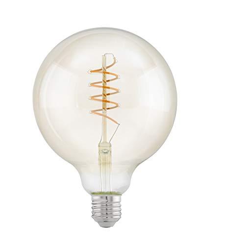 EGLO LED E27 Lampe, Amber Vintage Glühbirne, Spiral LED Globe, Retro Beleuchtung, 4 Watt (entspricht 25 Watt), 260 Lumen, E27 LED warmweiß, 2200 Kelvin, Leuchtmittel, Edison Glühbirne G125, Ø 12,5 cm