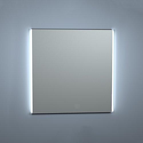 Kristaled Aran Led 80x80 cm Bisel Mate Lateral Espejo de Baño con Retroiluminación, Cristal, Plateado, 80x80x3 cm