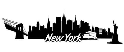 Samunshi® New York Skyline Wandtattoo Sticker Aufkleber Wandaufkleber City Gedruckt New York 120x37cm schwarz