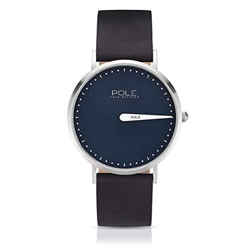Pole Watches Orologio da Polso Analogico Monolancetta di Quarzo da Uomo Quadrante Blu e Cinturino di Cuoio Nero Modelo Classic Aqua C-1001AZ-BL07