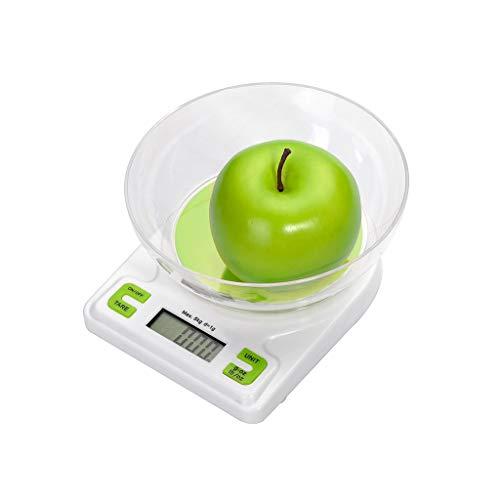 Balanza de laboratorio pequeña Balanza de cocina Cocida al horno Escala de alimentos 1g precisa pesa 5 kg blanco