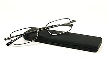 Foster Grant Gavin Fold Flat Rectangular Readers Gunmetal 1.0