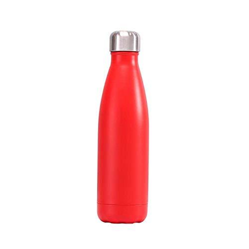 Wzmdd Dubbele Muur Geïsoleerde Vacuümfles 500ml Roestvrij Staal Waterfles Thermos Sport Reizen Cola Koffie Fles Zwart Roze Rood