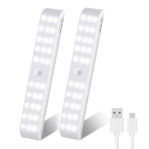 OUTAD Luz Armario, Luces para Armarios con Sensor de Movimiento, USB Recargable Luz Nocturna con 3 Modos para Armario, Cocina, Escalera, Pasillo, Baño, Dormitorio, 2 Pack