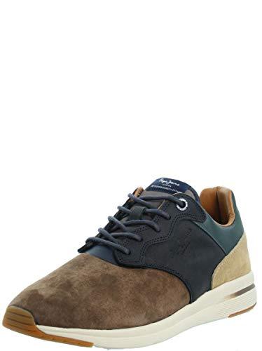 Pepe Jeans London Herren JAYKER LTH Mix Sneaker, Braun (Stag 884), 44 EU