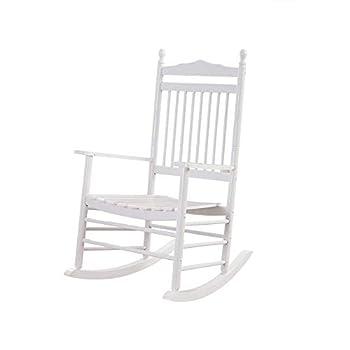 B&Z KD-26W Wooden Rocking Chair Porch Rocker White Outdoor Elegant Indoor