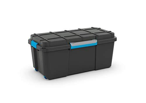Curver 241508 - Caja de almacenaje plástico, Scuba Box, color negro y azul, XL, 110 l