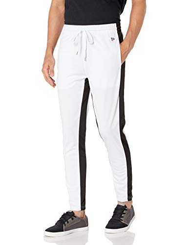 Southpole Men's Athletic Skinny Track Pants Open Bottom, White, Large