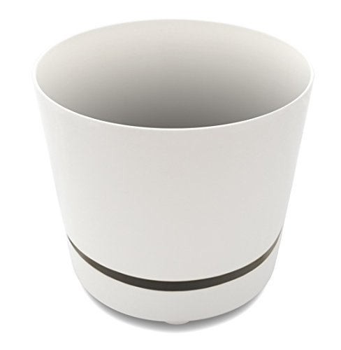 Unique 10 Self-Watering, Aerating, High Drainage Plant Pot with Deep Saucer (10 Inch, White)