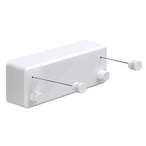 BESy Retractable Clothesline ABS case+Aluminum Dryer with Adjustable Stainless Steel Double Rope String Hotel Style Heavy Duty,Wall Mounted Method, 13.8 Feets,White