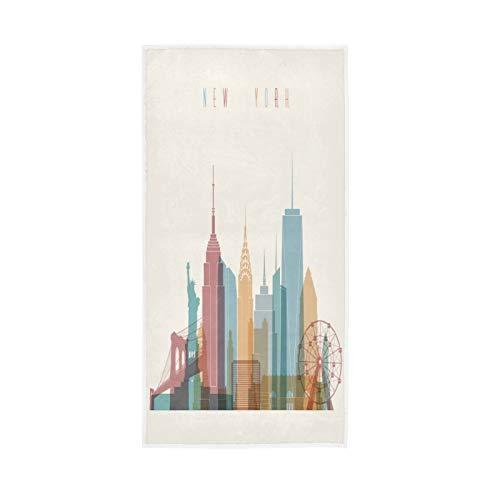 PIXIUXIU - Toallas de mano de secado rápido para pintura de la ciudad de Nueva York, toallas faciales absorbentes, suaves, gruesas, absorbentes, para uso diario, 76 x 15 pulgadas