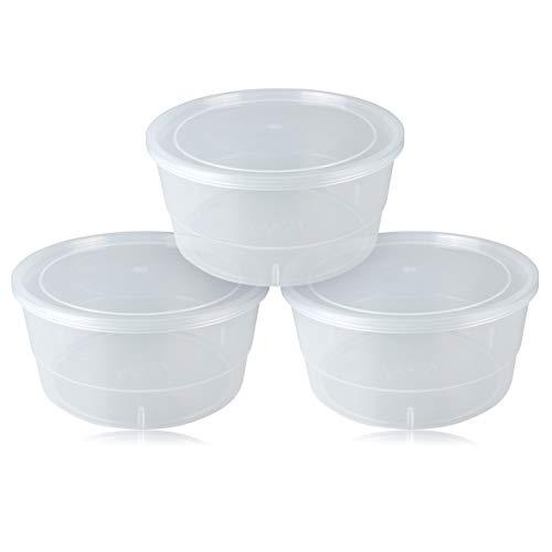 Suppentasse 3 Stück mit Deckel Durchmesser 22 cm, Inhalt 3 Lt. Hervorragend für Pizzateig. stapelbarer Lebensmittelbehälter für Lebensmittel, Reis. Spülmaschinenfest und mikrowellengeeignet