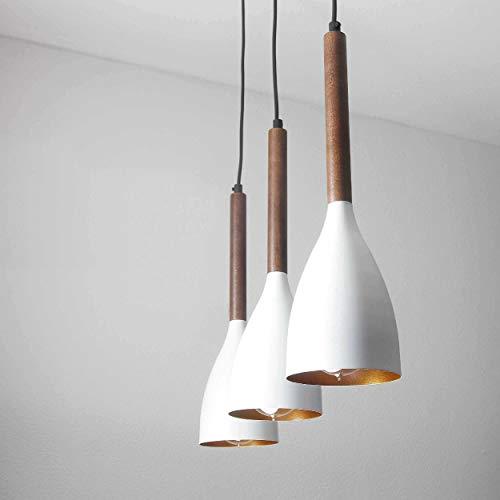 Retro hanglamp witgoud metaal donker hout 3-flmg E27 hanglamp lichte woonkamer eettafel