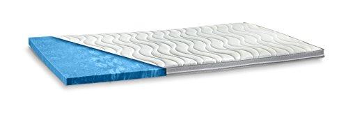 AQUASOFT Gelschaum-Topper Matratzenauflage | 10 cm Gesamthöhe | waschbarer Bezug mit 3D-Mesh-Klimaband und Stegkanten | hydrophile Eigenschaften | besonders Softer Touch | 90 x 200 cm