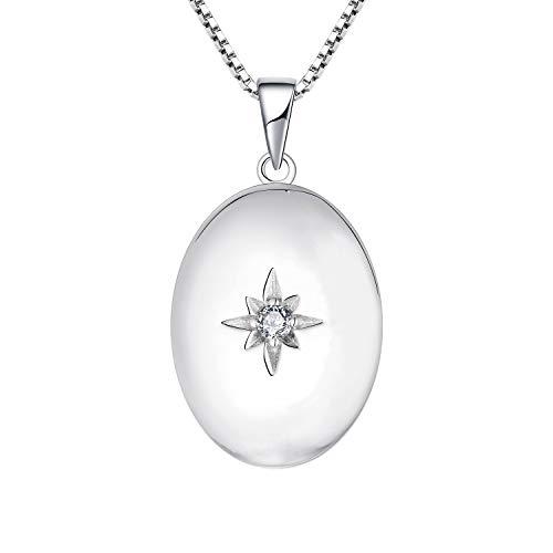 JO WISDOM Collar de Foto Medallón Plata de Ley 925 Mujer, Collar de Estrella Polar Joyas AAA Circonita,Joyas para Mujeres Niña Mamá