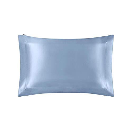 MTXD Funda de Seda 100% con Cubierta de Almohada Natural 40x40 60x70cm casa Textil (Color : Blue, Size : 50x90cm)