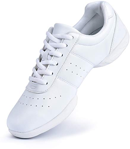 Smapavic Cheer Shoes Women White Cheerleading Dance Shoes Fashion Sneakers Tennis Athletic Sport Training Shoes for Gilrs White 8 B (M) US
