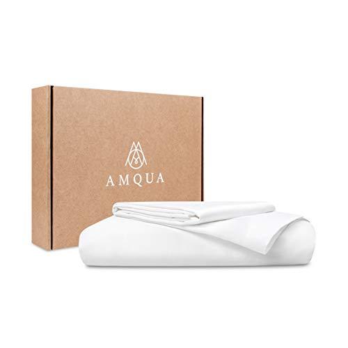 Amqua Mako Satin Bettwäsche 135x200cm + 80x80cm Kissenbezug, 100% zertifizierte Bio Baumwolle, weiß, 2tlg. Set