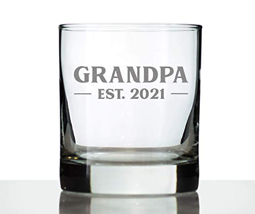Grandpa Est 2021 - New Grandfather Whiskey Rocks Glass - First Time Grandparents Gift - Bold 10.25 oz Whisky Glasses