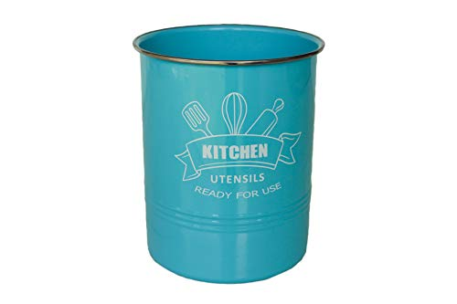 Kitchen Utensil Holder Turquoise with Stainless Steel Rim  Large Vintage Utensil Crock to Organize Cooking Spoons Spatulas  Premium Modern Farmhouse Decor and Kitchen Accessories Turquoise