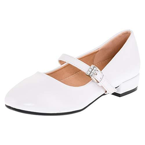 Dorémi Festliche Mädchen Ballerinas Schuhe mit Schnalle für Hochzeit Kommunion Feier (M480ws Weiß, Numeric_32)
