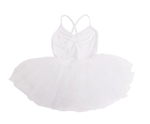 Happy Cherry Dziewczęca Falbana Sala Balowa Sukienka Bez rękawów Krzyżowy Pasek Spódnica Tutu Dzieci Siłownia Body Odzież do tańca 11-12 lat Biała