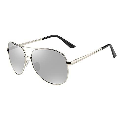BEIAKE Gafas De Sol para Adultos Luz Polarizada Discolor para Gafas Gafas De Sol De Visión Nocturna Adecuadas para Ciclismo, Correr, Viajar, Playa, Gafas De Manejo,Plata