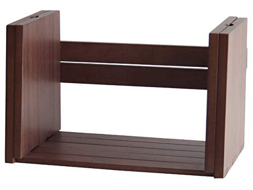 ブックスタンド 卓上 木製 ブックラック しきり 収納 北欧 机上 本立て 伸縮 ダークブラウン