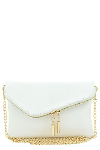 Envelope Wristlet Clutch Crossbody Bag with Chain Strap (White)