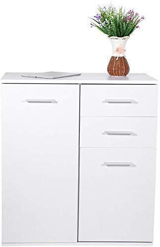 N/A - Cómoda de armario con cajones y aparador de pie de madera grande, organizador de almacenamiento, color blanco, salón, cocina, dormitorio, salón, comedor, 66 × 33 × 73,5 mm