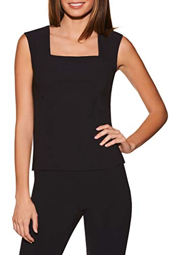 Boston Proper Women's Wrinkle-Resistant Basic Sleeveless Cropped Solid Color Knit Shell Top Jet Black