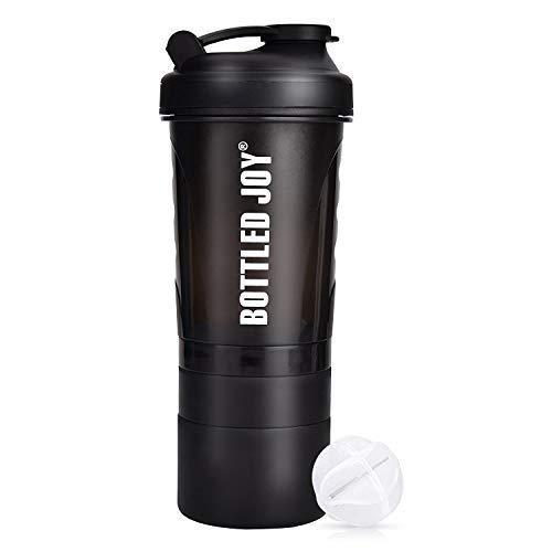 プロテイン シェイカー BOTTLED JOY 20oz 600ml筋トレフィットネスシェーカーボトルスポーツ 水筒 4層式 サプリメント プロテイン収納セット男女兼用 おしゃれ 機能性 持ち運び シェーカー直飲