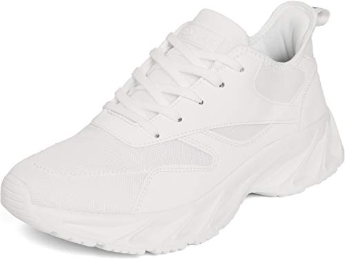 BRONAX Men's Casual Tennis Running Sneakers, Size 10 Lightweight Athletic Gym Sport Fitness Workout Walking Shoes Zapatos de correr Hombre deportivos for Male Blanco All White 45