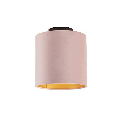 QAZQA Klassiek/Antiek Plafondlamp met velours kap oud roze met goud 20 cm - Combi zwart Staal/Stof Rond Geschikt voor LED Max. 1 x 60 Watt