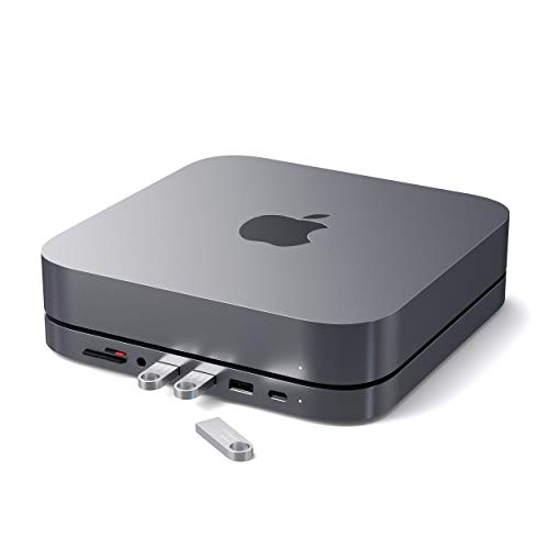 Satechi Type-C Aluminum Stand & Hub - USB-C Data Port, Micro/SD Card Readers, USB 3.0 & Headphone Jack Port - Compatible with 2020 & 2018 Mac Mini