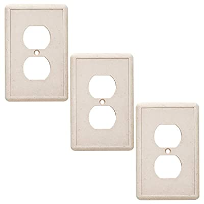 Single Duplex 3 Pack - Ivory Outlet Cover Cast Stone Textured Decorative Light Switch Cover