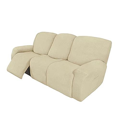 HUANXA Elástico Jacquard Fundas De Sofá para 1 2 3 Seater Chaise Longue Sillón Sofá, Universal Funda De Sofá Reclinable Protector De Muebles con Fondo Elástico-Blanquecino-3 Plazas(8pcs)