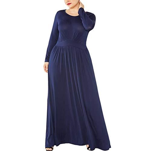 Dorical Übergroßer Cocktailkleid für Frauen,Damen Maxi Kleid Sexy Rundhals Langarm Kleider Swing Plain MaxiKleid Lange Elegant Kleider M-3XL(Marine,Large)