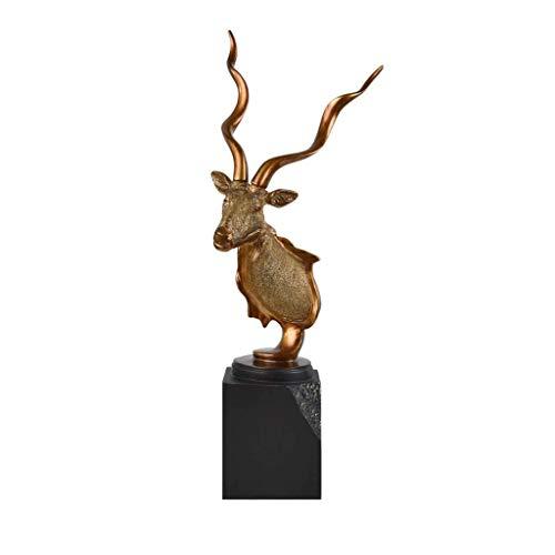 XJJZS Elegante Cabeza de Antílope de Resina de La Vendimia Cornudo Tallado Artesanía Fina Oficina Decoraciones for El Hogar Regalo Estatuilla Escultura Arte