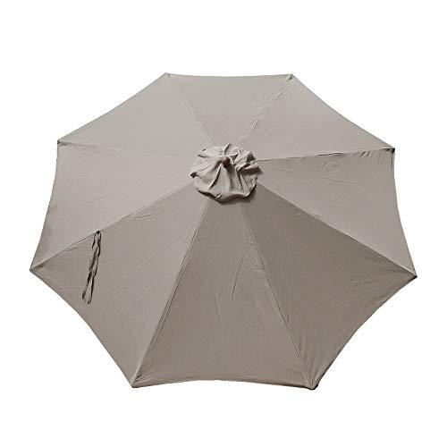 """Formosa Covers Replacement Umbrella Canopy for 11ft 8 Rib Market Outdoor Patio Shades in Taupe Ribs Length 64"""" to 66"""" (Canopy Only)"""