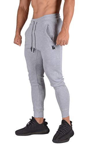 YoungLA Mens Joggers Slim Fit | Gym Pants Tapered | Workout Skinny Sweatpants | Training Fitness 222 Gry S Grey
