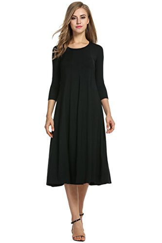 Hotouch Women's 3/4 Sleeve Casual Loose Solid Midi T-Shirt Dress (Black XL)