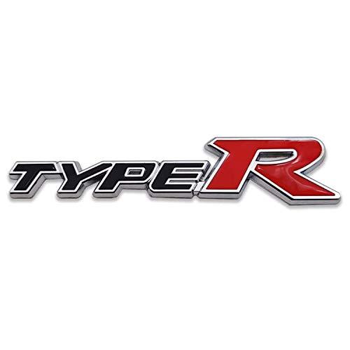 HAOXUAN 3D Metal Type-R Logo Emblema de la Parrilla Delantera del Coche Insignia de la Parrilla Premium 3D Racing Sport Turbo Power,Negro
