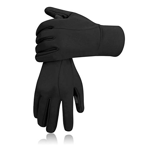 Thermal Gloves Touch Screen Winter Insulated Glove - Windproof Water Resistant for Running Cycling Driving Phone Texting Outdoor Hiking Hand Warmer in Cold Weather for Men and Women (Black,Medium)